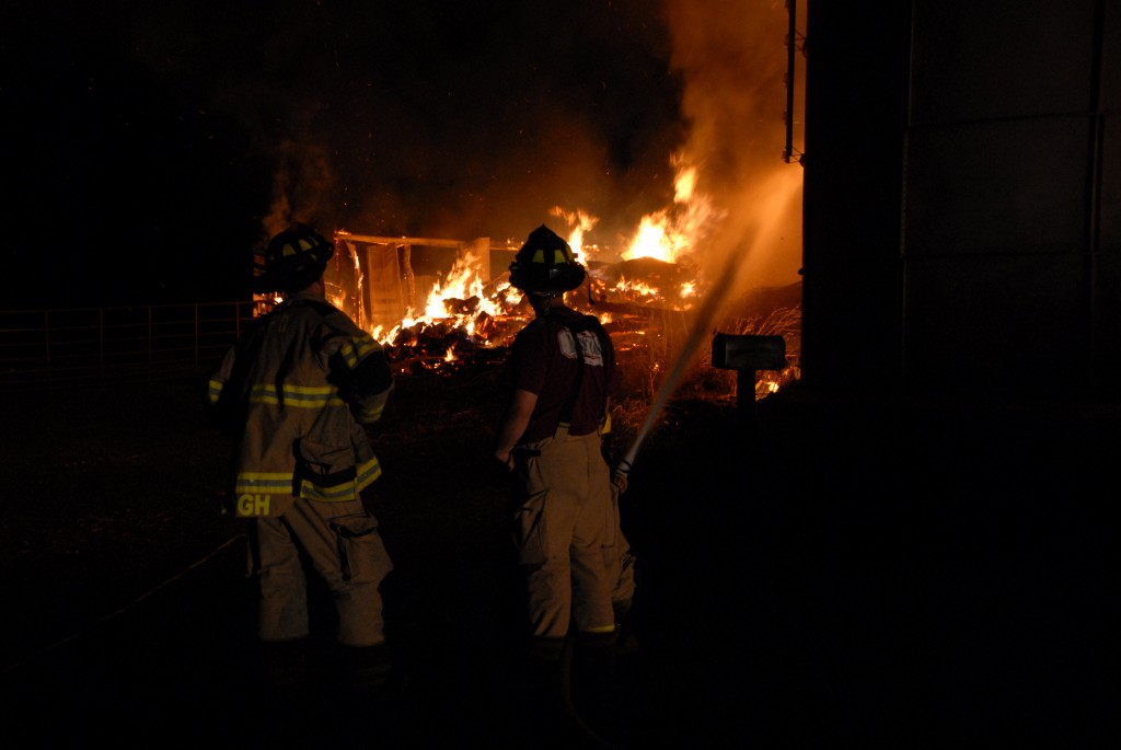 Timberville firefighters contain a barn fire on Brannertown Lane south of Forestville.