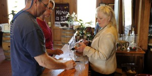 People taking wine at Shenandoah Vineyards